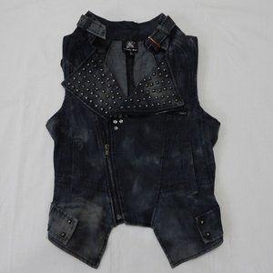 Punk Rock Studded Black Vest Size S XS